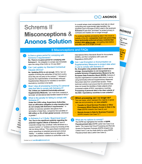 Schrems II Misconceptions & Anonos Solution